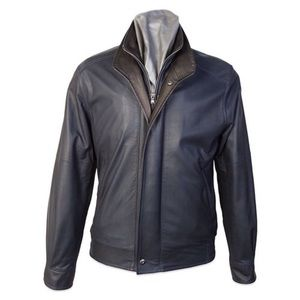 Remy Double Collar Lambskin Leather Navy Jacket